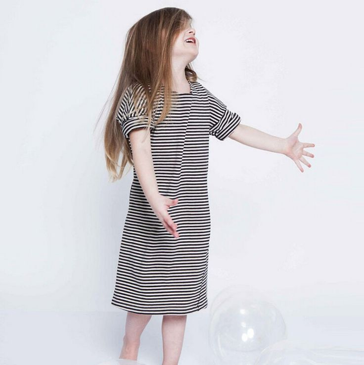 Свободного покроя платье девушка полоса длиной до колен одежда для девочек, Камвольно асимметричные милые дети платья для девочек 2 т - 10 т