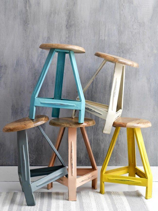 Kidsdepot pure kruk hout-metaal old white | Gratis verzonden | Kinderkamer, decoratie, meubels, accessoires en kinderkleding