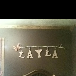 Earthy Chic name for nursery....  Cute way to hang the name? @Sarah Hubbard r