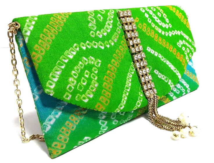 Indian Ethnic Handmade Green Pure Bandhej Clutch To Give You Ethnic Look #ClutchBag
