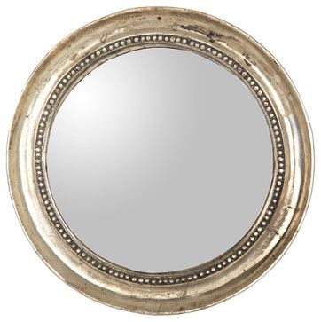 Julian Antique Gold Champagne Distressed Small Round Mirror - contemporary - Mirrors - Kathy Kuo Home