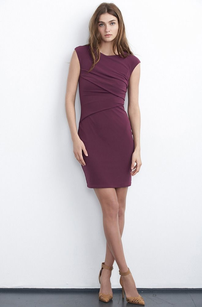 VELVET By Graham & Spencer Jarita Asymmetric Pleat Stretch Dress Purple S $178 #Velvet #Dress #Casual