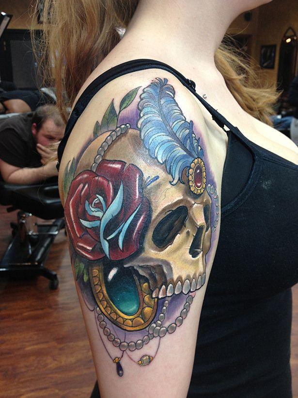 Feminine skull tattoo by halo ink pinterest halo for Tattoos by halo