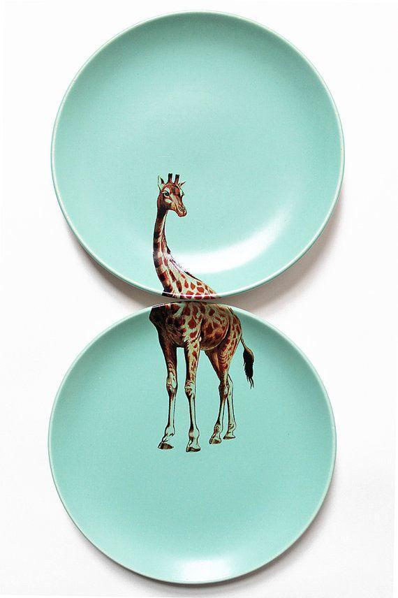 Giraffe plates by yvonneellen on Etsy, $44.00
