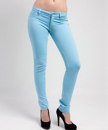 Look what I found on #zulily! Pastel Blue Skinny Pants #zulilyfinds
