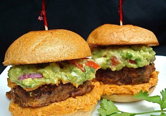 Mexicali Sliders- To use as a main course for lunch or dinner make the patties larger and use regular size whole wheat burger buns. If you have leftover mango salsa, it tastes great thrown into a saute pan with shrimp.