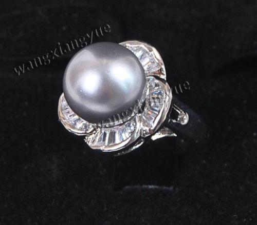 Бесплатная доставка > >>> мода 12 мм серый юг морские раковины перл круглый бусины размер кольца 7 8 9 ааа
