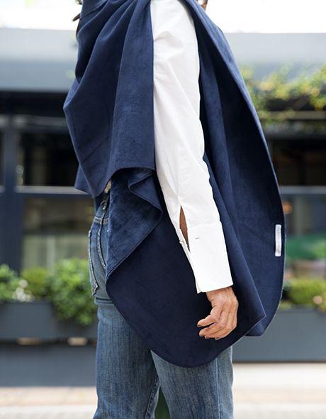 Poncho jacket blue velvet- suede doublefash onesize!!! www.cherryschoice.gr