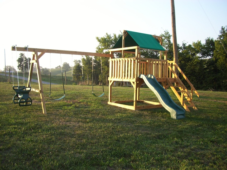 Swingset and playhouse.