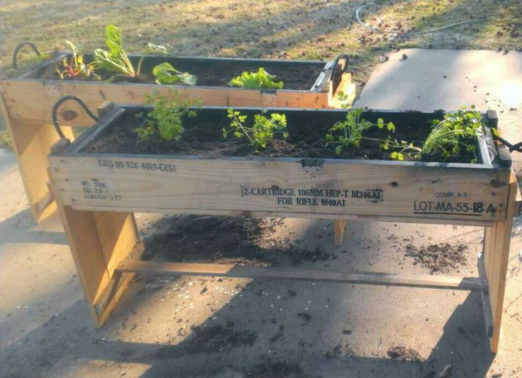 Raised Planters for herbs made from ammo crates. Another idea. Raised planters made from wood rocket crates. Need some. I have some. Limited time. Limited quantity. I supply the crate. You supply the imagination. 816-359-7945