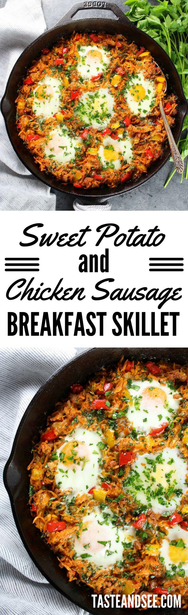 Sweet Potato & Chicken Sausage Breakfast Skillet | Eggs | High-Protein | Gluten Free | http://tasteandsee.com