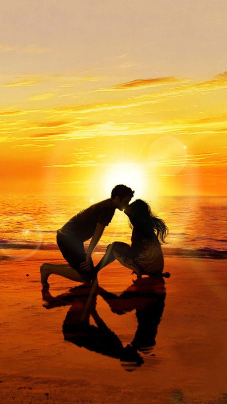 Kissing lover sunset beach iphone 6 wallpaper love - Beach girl wallpaper hd ...
