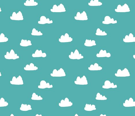 Clouds - Tiffany Blue fabric by andrea_lauren on Spoonflower - gift wrap
