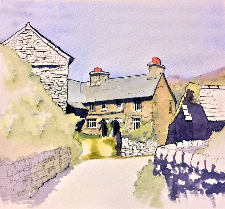 A cottage in Troutbeck, line & wash by John Harrison