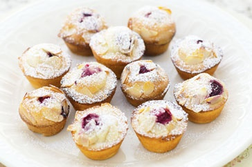 Mini raspberry friands, similar to the Fay Ripley recipe but smaller. Liked the sound of these better and have tins the right size!