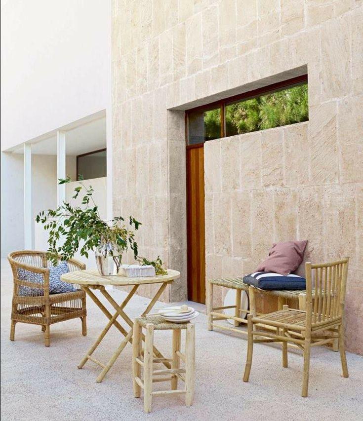 Terrasse skandinavischer Stil Bambusmöbel
