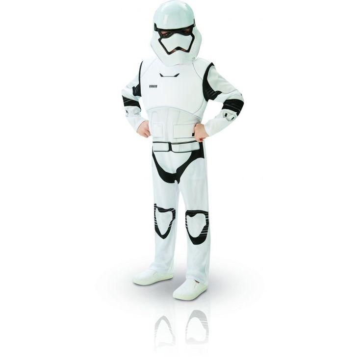 Ce déguisement de Stormtrooper pour enfant est sous licence officielle Star Wars VII™. Il se compose d'une combinaison et d'un demi masque (chaussures non incluses). Disponible en taille M (5/6 ans) ou L (7/8ans). La combinaison noire et blanche est rembo