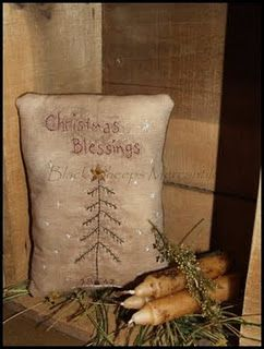 Grunged Christmas Blessings Pillow...candles & pine.