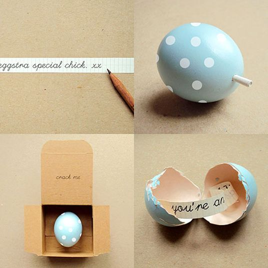 Love this idea; how great to be able to crack open a beautiful egg and get a lovely message! Tutorial on how to make your own here: http://poppytalk.blogspot.com/2010/04/happy-hippity-hop.html