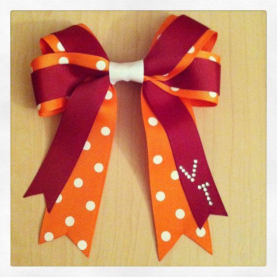 Virginia Tech Bow $13 http://www.etsy.com/listing/153509004/virginia-tech-university-hair-bow-hokies