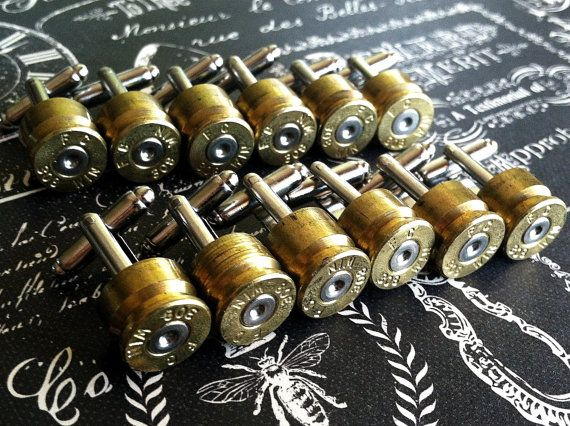 Groomsmen cufflinks Bullet cufflinks 308 Win 11 pair  silver tone backings Winchester deer hunting rifle gun wedding cuff links men. $165.00, via Etsy.
