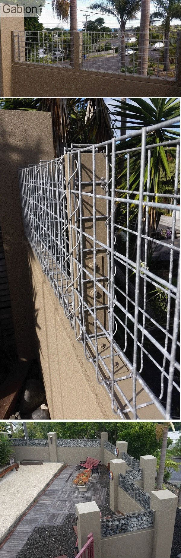 gabion capped plaster wall detail using 75mm thick folded gabion http://www.gabion1.co.nz