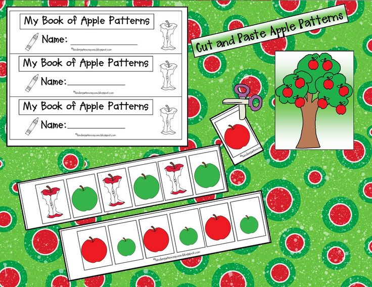 Here's a booklet for students to create a series of apple-themed pattern strips.