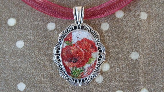 Red poppies pendant. A tibetan style antique by ArtisticBreaths