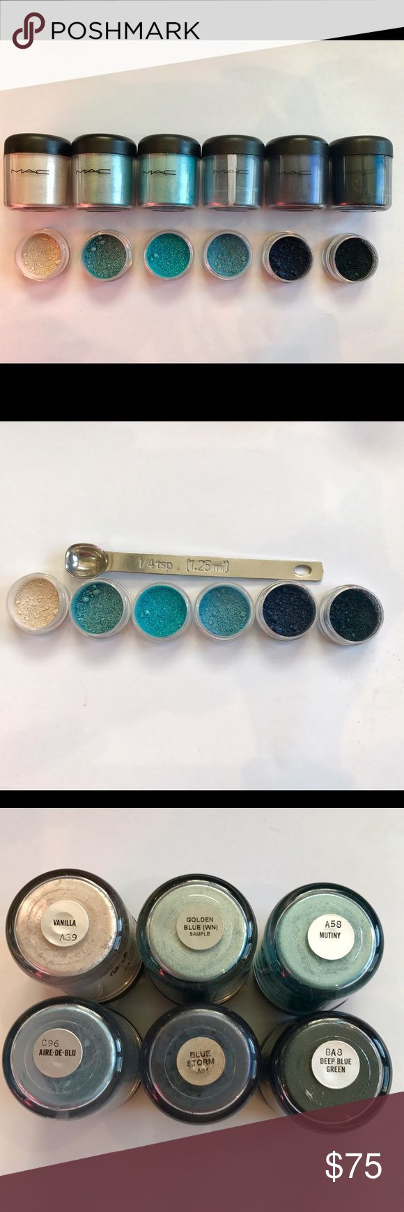 Super Rare MAC Pigment Sample Set (1/4 teaspoon) This MAC Pigment sample set includes 1/4 teaspoon of each of the following pigments: Vanilla, Golden Blue, Mutiny, Aire-De-Blu, Blue Storm, and Deep Blue Green!This is a perfect way to try out Authentic MAC Pigments without spending a fortune on them. These Pigments are perfect for any occasion! Get them while they last! SHIPS THE NEXT DAY! Pigments come in 3g BPA Free jars! MAC Cosmetics Makeup Eyeshadow