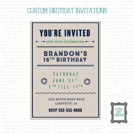 Teen Boys Birthday Invitation Birthday by PaperLimeDesigns on Etsy