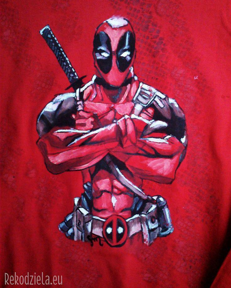 Deadpool Handpainted longsleeve, size XXL. #marvel #wadewilson #deadpool #fantasy #marveluniverse #pyrkon #longsleeve #fan #geek #nerd