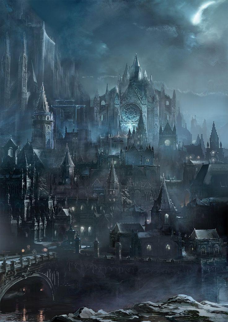 Capital del imperio demoniaco Fantasy city Fantasy art landscapes Dark souls art