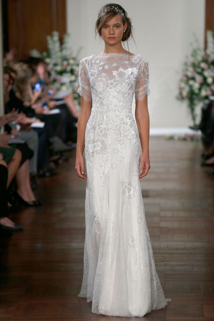 Jenny Packham – Bridal Fall 2013    TAGS:Embellished, Embroidered, Floor-length, Short sleeves, High neck, White, Ivory, Silver, Jenny Packham, Jewelled, Lace, Satin, Silk, Tulle, Elegant, Romantic