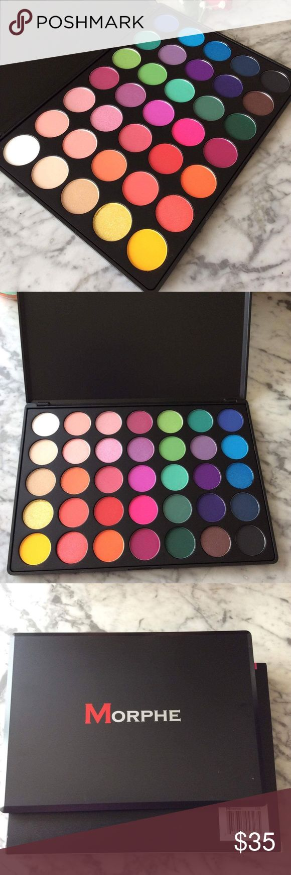 Morphe 35B The Glam palette Brand new in box. Never swatch and authentic. These eye shadows are highly pigmented and the color pay off is well worth this investment. This 35 color glam palette consists of wild and bright colors perfect for someone who LOVES color! A variety of shades in yellows, orange, pink, purple, blue, green, red and black.  This Palette is a mixture of 12 Shimmer and 23 Matte Colors. Makeup Eyeshadow