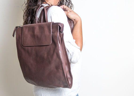 mochila de cuero marrón - ordenador portátil mochila marrón - mujeres de cuero bolso de mochila - morral de cuero - mochila - mochilas - BELLA MS7062