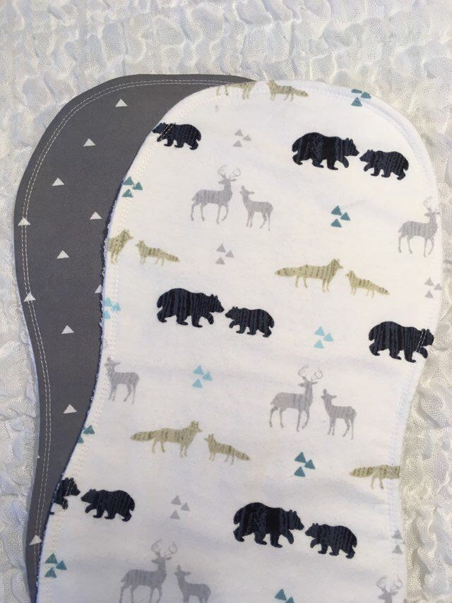 Boutique Burp Cloth Baby Shower Gift 3 Elk and Bear Woodland Animals Blue and Gray Burp Cloths Personalized Embroidered Burp Cloths