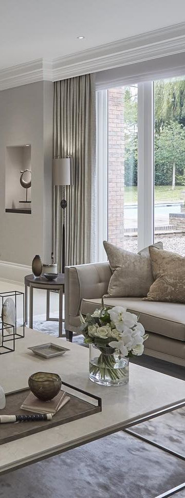 hide away curtain rods neutral living room design sophie patterson interiors - Neutral Living Room Design