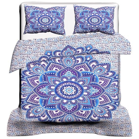 Mandala Blue Ombre Cotton Flower Print Duvet Cover Indian Bedding Set Hippie Handmade Doona Set Room Mandala Duvet Cover Green Duvet Covers Duvet Covers