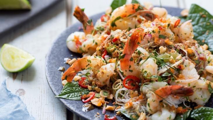 You can serve the prawn salad as a feast or wrap the salad in the betel leaves and eat them as hand-held morsels.