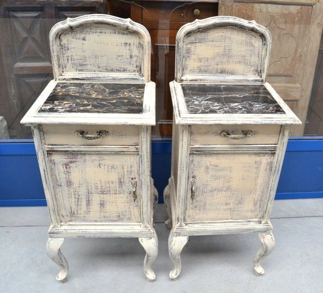 Coppia di comodini primo '900 laccatura shabby piano in marmo nero