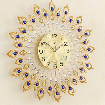 home-decoration-wall-clock-fashion-rustic-wall-clocks-peacock-wall-clock-modern-Large-quartz-clock