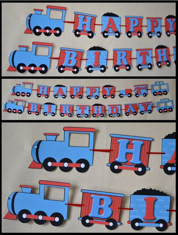 Birthday Train Party Decorations, Thomas the Train, Train Birthday Party Banner - Custom Name/Age (20 letters) on Etsy, $15.00