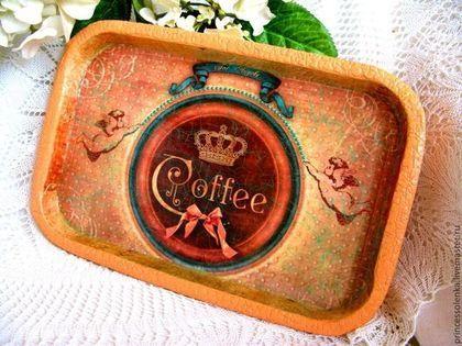 """Кухня ручной работы. Ярмарка Мастеров - ручная работа. Купить """"Время пить кофе"""" Поднос для кухни, декупаж. Handmade. Оранжевый"""