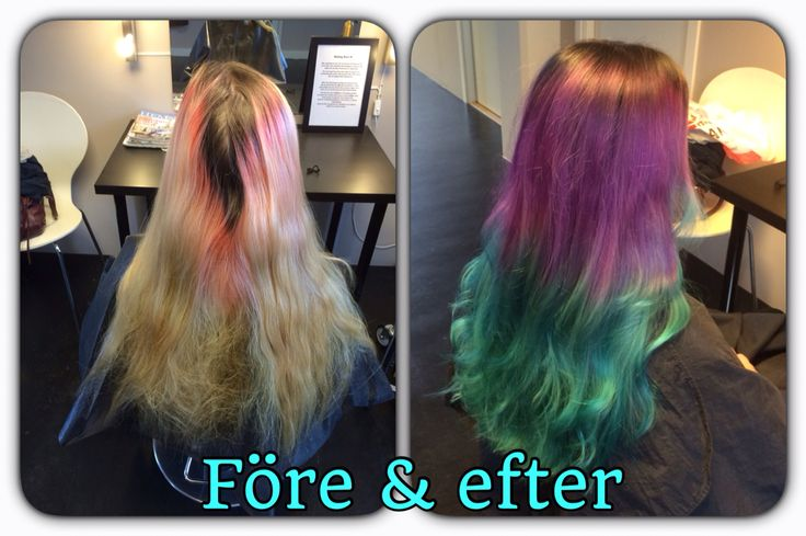 Before and after  Crazy haircolor