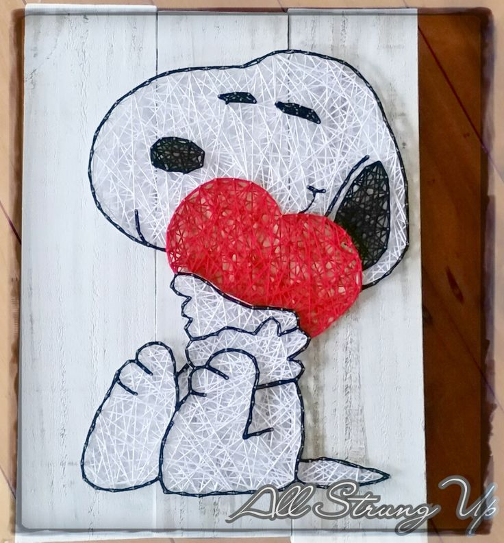 All Strung Up - String Art Snoopy Love - String Art   Send some Snoopy love to the one you love the most.   Measures - 40x30 cm   White wash Pine board, light weight and easy to hang.  ** Already made and not one nail for you to hammer!