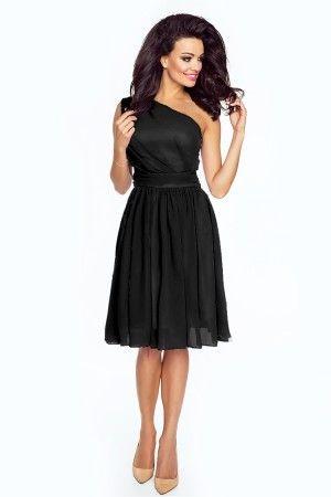 Rochie eleganta neagra pe un umar cu lungime medie