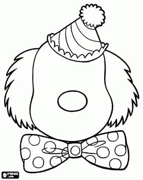Head of a clown with a clean face to draw eyes and mouth coloring page
