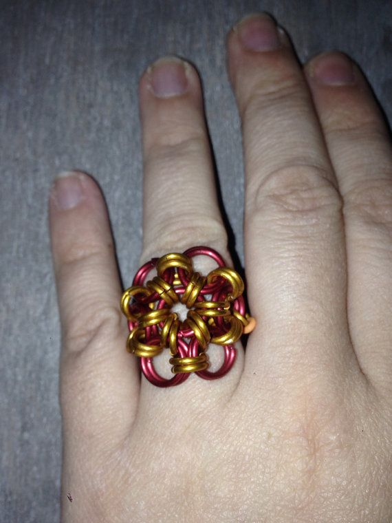 Red and Yellow Japanese flower ring TheFairyTre on Etsy, €5.00