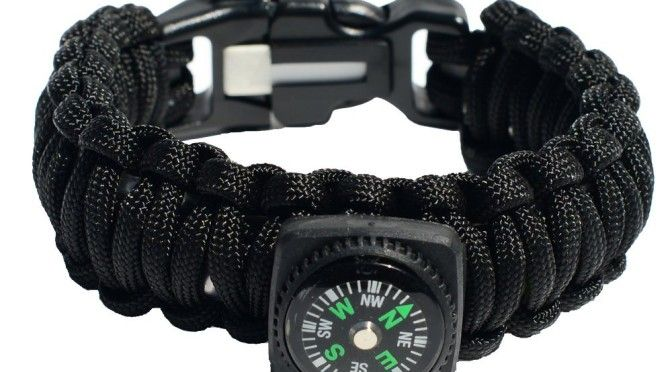 Survival Bracelet When going on hikes or camping trips you want to travel as light as possible. This bracelet is perfect for that as it is made of 100% Handmade 550 Paracord . It carries with it  Compass, Firesteel, Fire Tinder, Ceramic Knife, Rubber Band, Alcohol Pad, Fishing Line and complete Fishing Gear Including 2 weights, 2 floats, 2 hooks, 2 swivels, and two safety pins.