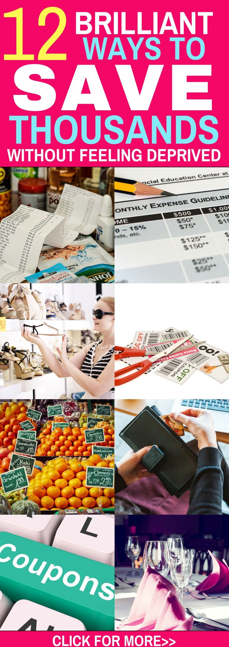 Brilliant ways to save money without feeling deprived. These are all easy ways to save $1000s each month on groceries, eating out, shopping and so much more. Click through to check out those save money tips!